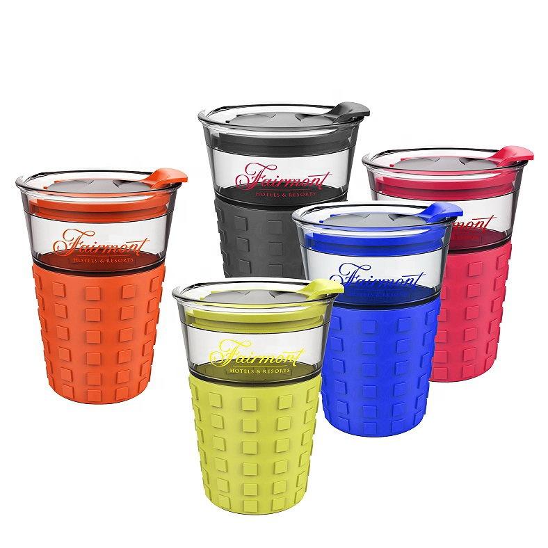 प्रचार 12 oz. प्लास्टिक पेय सिलिकॉन पकड़ कॉफी गिलास