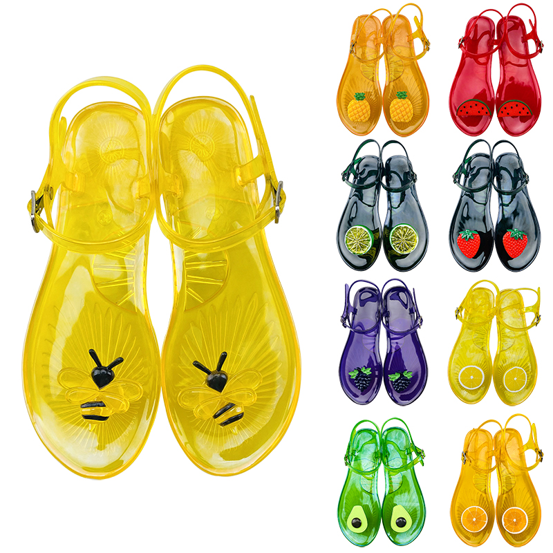 Comfortable Summer Lady Plastic Fruit Sandals Wholesale Woman Jelly Shoes, Picture color