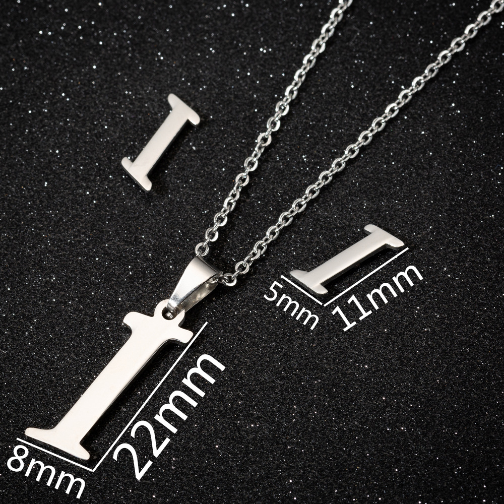 JSS023 Trade Assurance Fashion Stainless Steel Simple 26 English Letters Necklace Earrings 2pcs Letters Jewelry Set