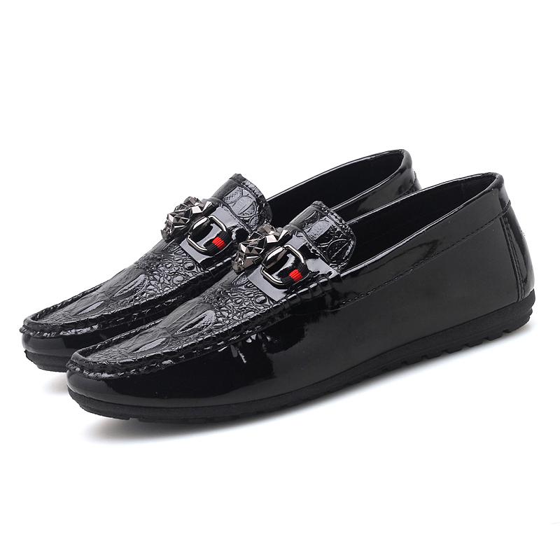 Lightweight Boat Barefoot Moccasins Black Crocodile Pu Leather Loafer Men Driving Shoes