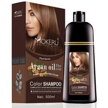 Natural Hair Color Permanent Argan Oil Hair Dye Shampoo Fast 5 Mins Coloring Gray Hair Easy Use at Home for Men