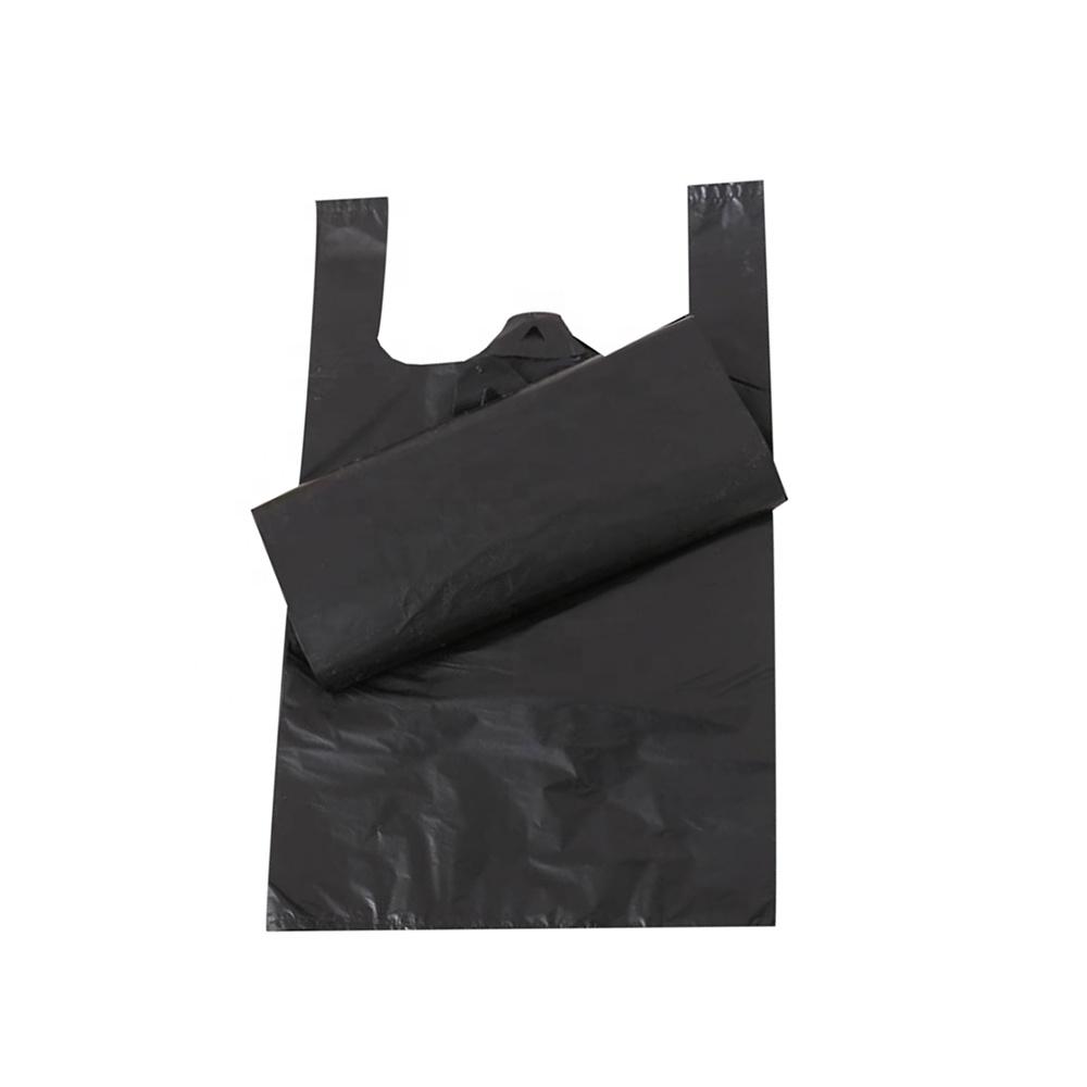 無料サンプル hdpe カスタム印刷されたロゴ黒 tシャツビニール袋