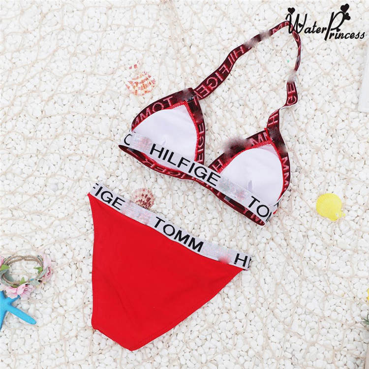 Wholesale Women Solid Color Split Bikini Letter Swimwear Spot Swimsuit