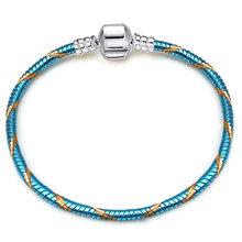 Очаровательный браслет, браслет, Посеребренная цветная цепочка, подходит для шармов, браслеты, цепочка под змеиную кожу, цепи для женщин, юв...(Китай)