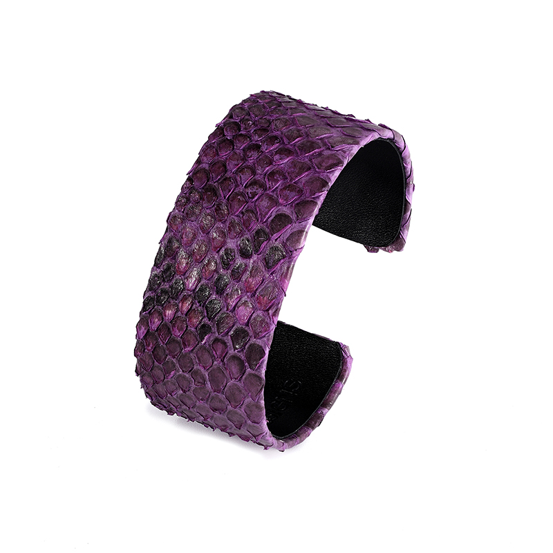 Fashion men women type black snake leather bracelet cuff tropical python skin bangle