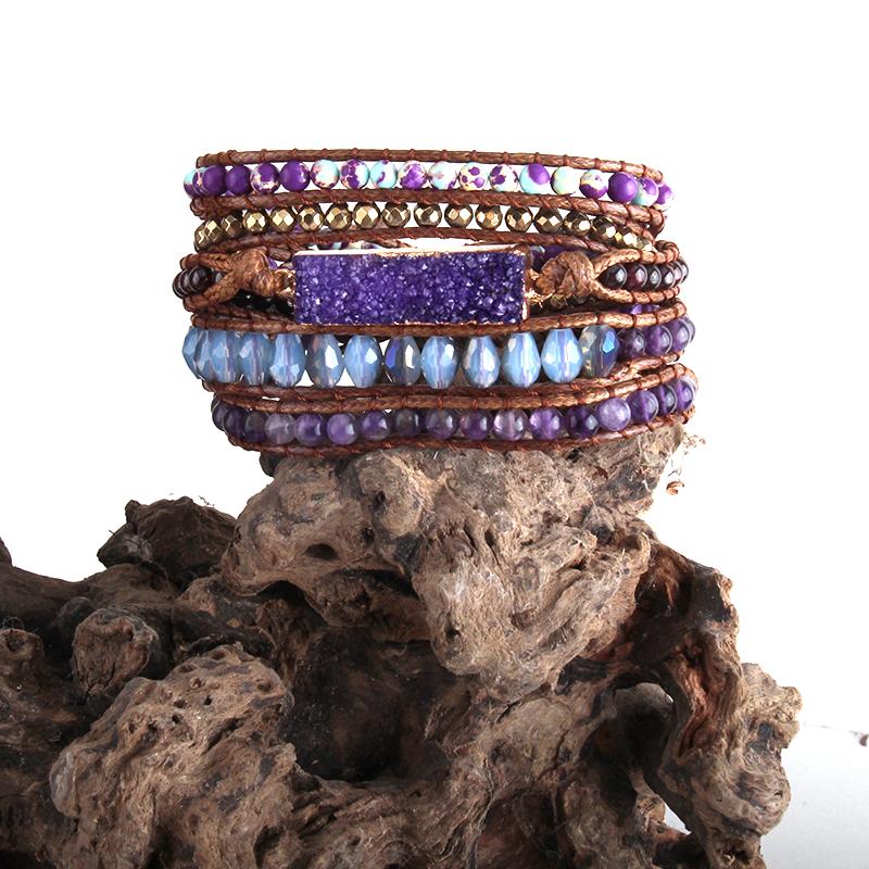 Donne di Modo di estate Armbander Multicolore di Cristallo Pietre Naturali Misti Druzy Fascino 5X Wrap Bracciali
