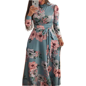 New Women Boho Beach Long Casual Dress Autumn New Design Long Sleeve Floral Print Womens High Collar Maxi Dresses