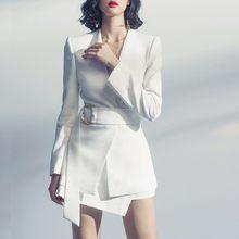 Женская сексуальная белая мини-юбка, блейзер, костюмы, набор, пояс, приталенный, v-образный вырез, для офиса, для девушек, осень, длинный рукав,...(Китай)