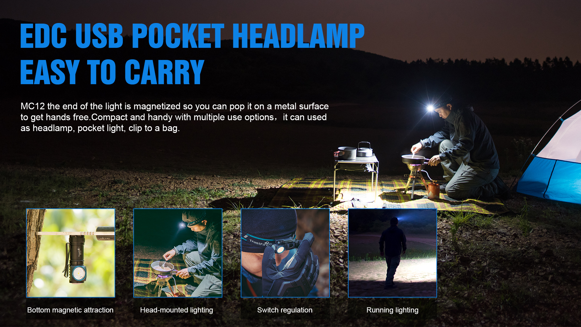 New Trustfire Mc12 Moving Head Light 1000Lm Rechargeable Aluminum Flashlight Keychain Headlamps