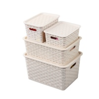 plastic rattan woven storage basket with lid