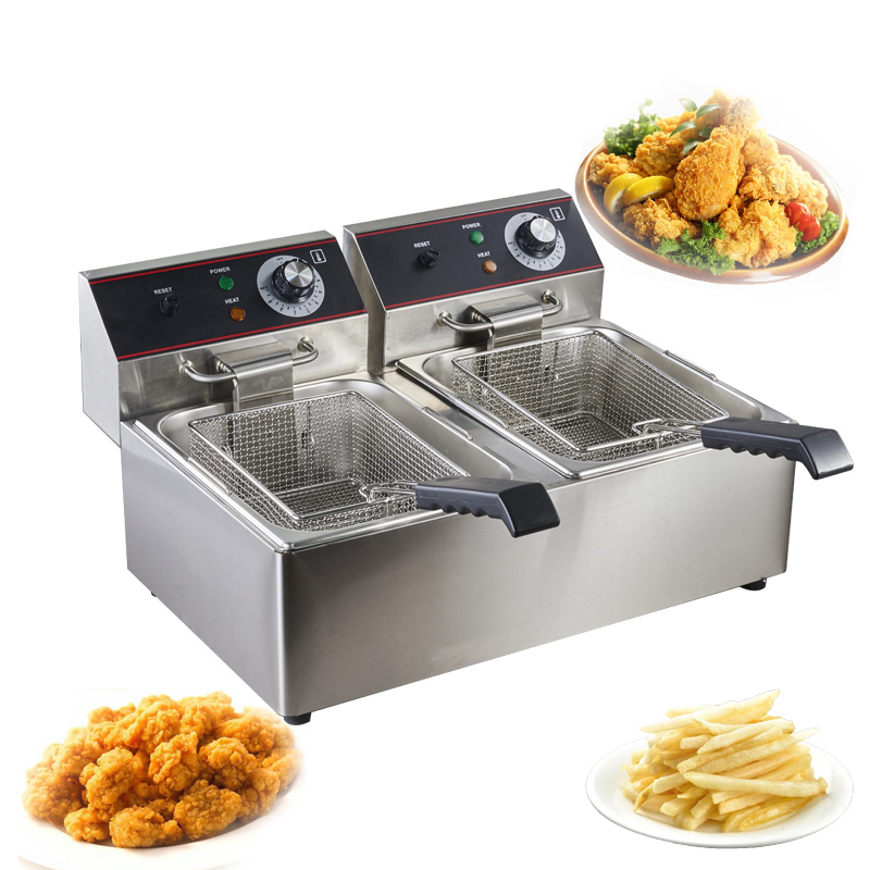 Household double Tanks automatic chicken frying <strong>fryer</strong> machine <strong>commercial</strong> <strong>deep</strong> <strong>fryers</strong>