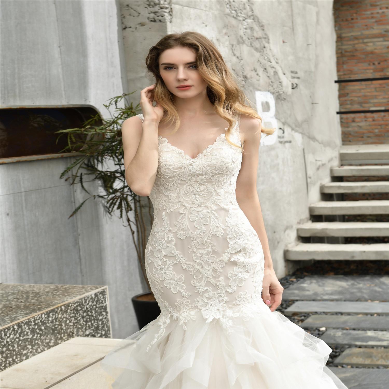 2020 New robe de soiree wedding dress women robe mariage sireine flora lace dress bridal gown wedding dress Afican cheap dresses