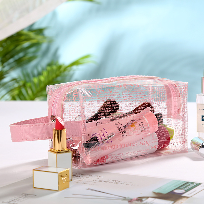 2019 women toiletry cosmetic makeup case PVC transparent bag