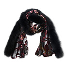 Wholesale classic design winter lace transparent Patterned velvet silk shawl with fur