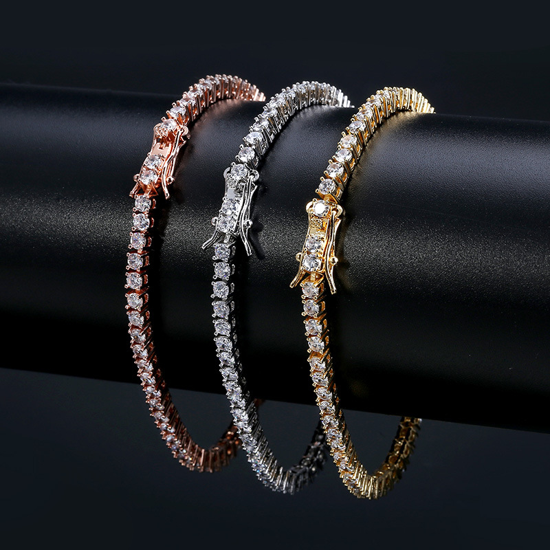 2020 Jewelry 18k men luxury hip hop iced out 3 mm AAA zircon <strong>cz</strong> silver gold rose gold chain <strong>tennis</strong> <strong>bracelet</strong> designs