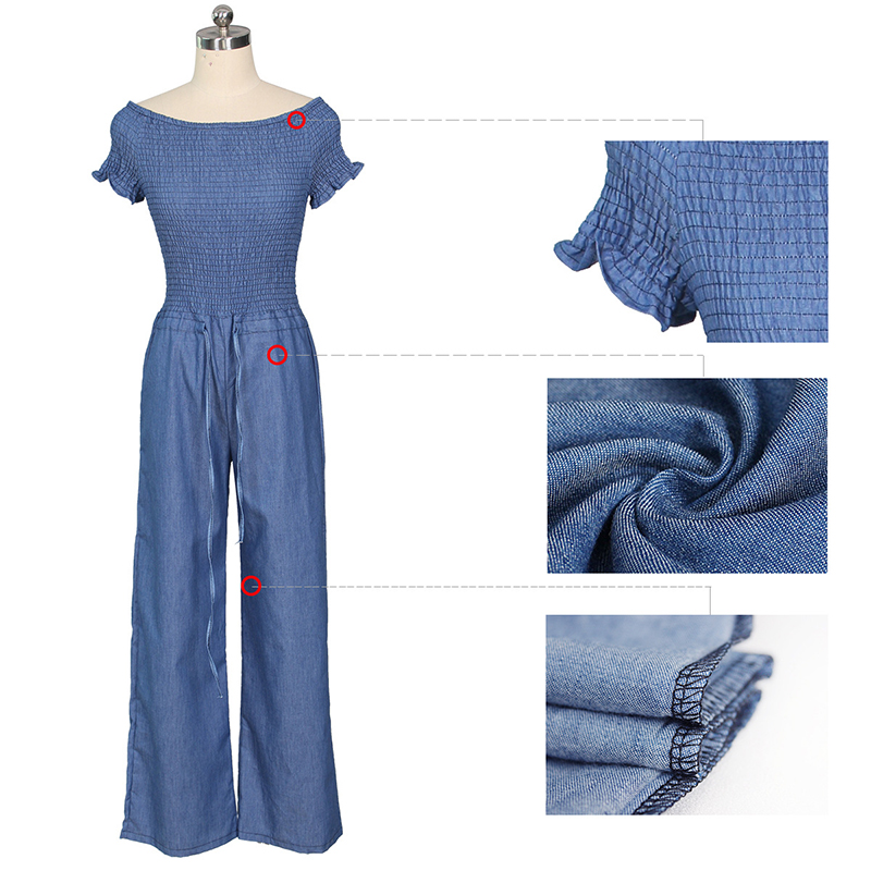 Women Off Shoulder Wide Leg Jeans Romper Jumpsuits Casual Long Trouser Overall Pants Denims bodysuits