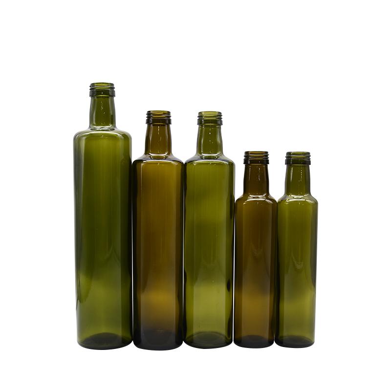 Venta al por mayor, Stock ronda de vidrio verde oscuro botella de aceite de oliva 500 ml 750 ml 250 ml botella de vidrio de aceite de oliva