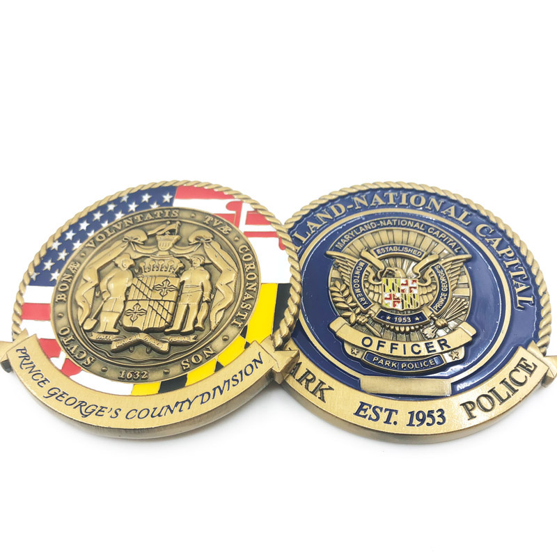 custom 2020 3d double plating antique gold USA flag eagle officer enamel challenge souvenir coin