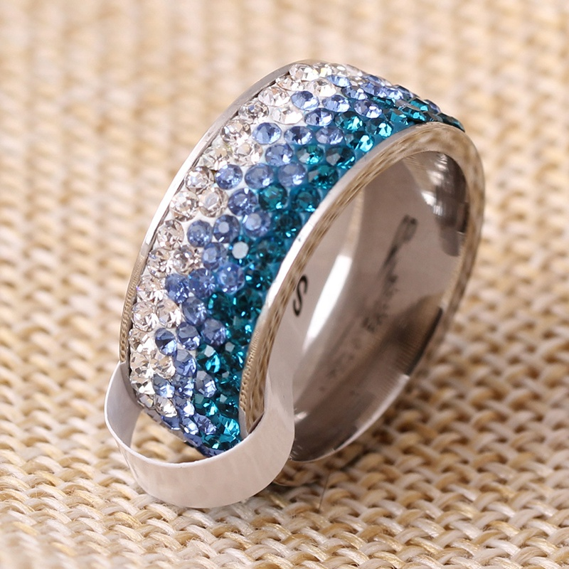 product-BEYALY-Popular Stainless Steel Diamond Ring, Ornaments Progressive Blue Color Ring-img