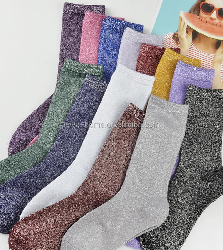 Wholesale gold silk bright silver onion cotton socks / colorful metallic glitter socks / solid color retro boots socks