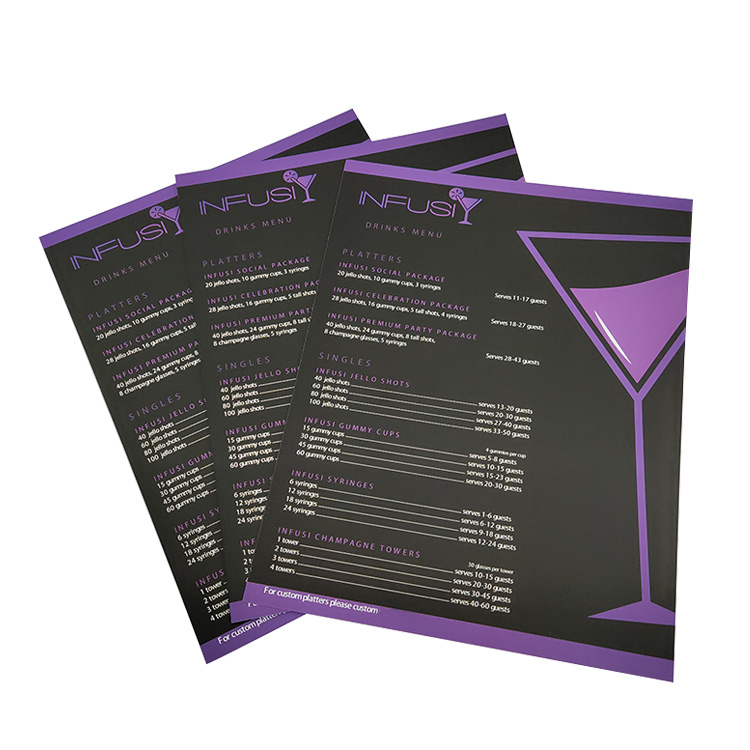 Cheap wholesale Full color printing customize design double sides paper business menu flyers