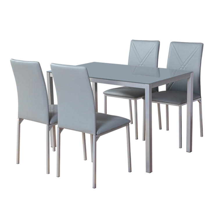 Best Choice Kitchen Dining Table Set with One Glass Top Table and 6 Black Leather Chairs