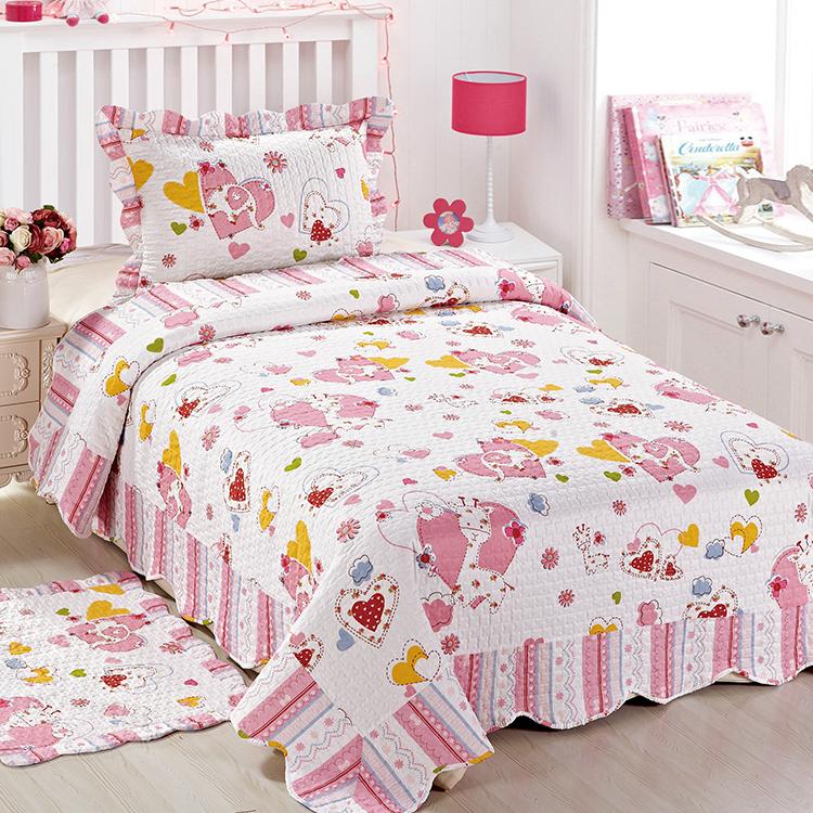Kids Children Printed Patchwork Bedspread Bedding Set Quilt