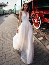 LORIE элегантные кружевные свадебные платья 2020 трапециевидные Свадебные платья с глубоким v-образным вырезом и открытой спиной с аппликацией ...(China)