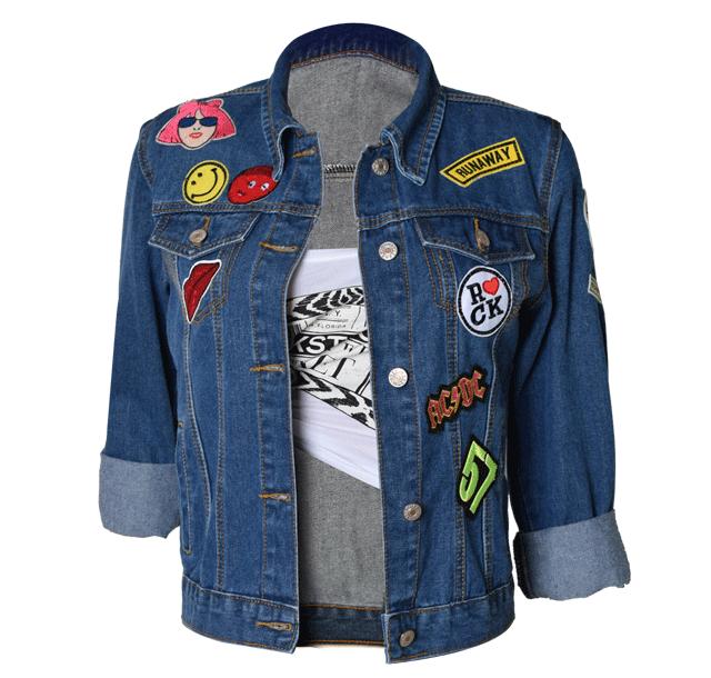 Damen Jeans mantel Stickerei Jeans jacke Slim Fit Boy Friend Style Langarm Baumwoll futter Standard Motorrad jacke Feder