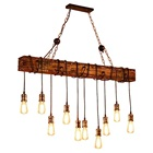 Lighting Lamps 10-Lights Wooden Island Chandelier Retro Rustic Pendant Lighting Lamp