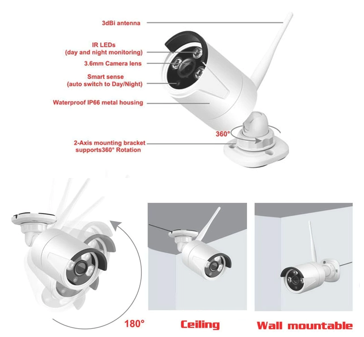 veekei cctv wireless home security camera systems outside surveillance  camera with nvr 1080p 4ch  8ch system camera