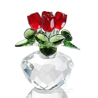 wholesale top k9 crystal rose flower home decor wedding gift Dreams Ornament souvenir valentine gift rose flower paperweight