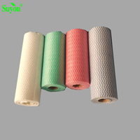 Daily use colorful wiping paper roll disposable nonwoven restaurant cleaning cloth