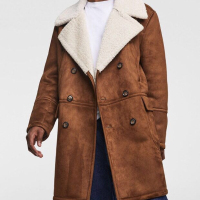 Top Brand New Design Brown Suede Men Faux Fur Coat