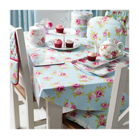 Customized pvc tablecloth, Edge Binding Flower Printed table cover, Animal Design PVC Table Cloth