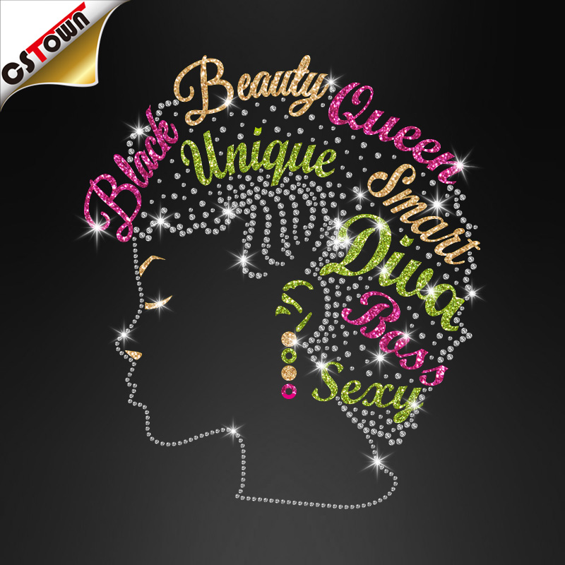 Atacado Brilho Lettering Iron on Black Beauty Queen Lady Rhinestone Transferência Designs