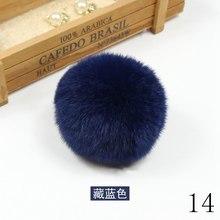 Помпон Настоящий мех кролика рекс плюшевый 8 см помпоны для волос аксессуары брелок цветок домашний декор шляпа сумка Подвески(Китай)