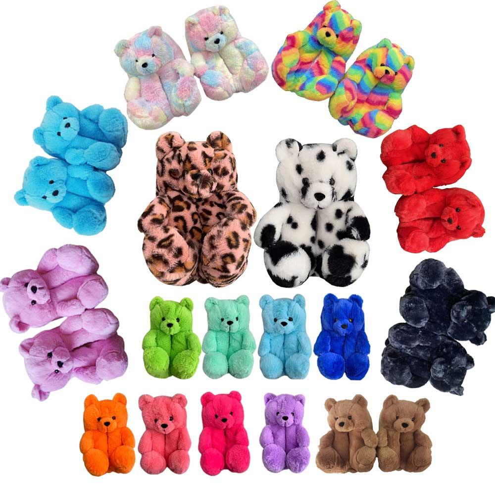 Amazon Hot Selling Custom Stuffed Plush Toy Teddy Plush Bear Slipper House slippers Bedroom slippers for women and kids