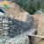 Mesh Gabion stones Wall for bench and plants of the rocks and metal grates
