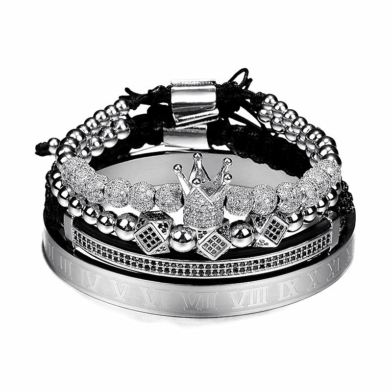 Hot Sale Hip Hop Jewelry 4PCS Luxury Stainless Steel Roman Number Bangle Braided CZ Royal Crown Charm Bracelet Set