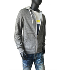 Factory direct high quality mens zippered grey sweatshirt with hoodie manufacturer