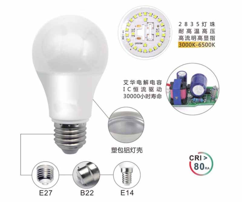 A60 B22 LED Bulbs, 60W Incandescent Bulbs Equivalent, Day White, 6000K,810lm, Bayonet LED Light Bulbs