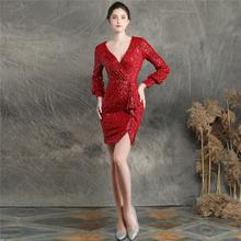 Женское платье на выпускной It's Yiiya, элегантное однотонное мини-платье на молнии с v-образным вырезом и длинным рукавом, расшитое блестками, ...(China)