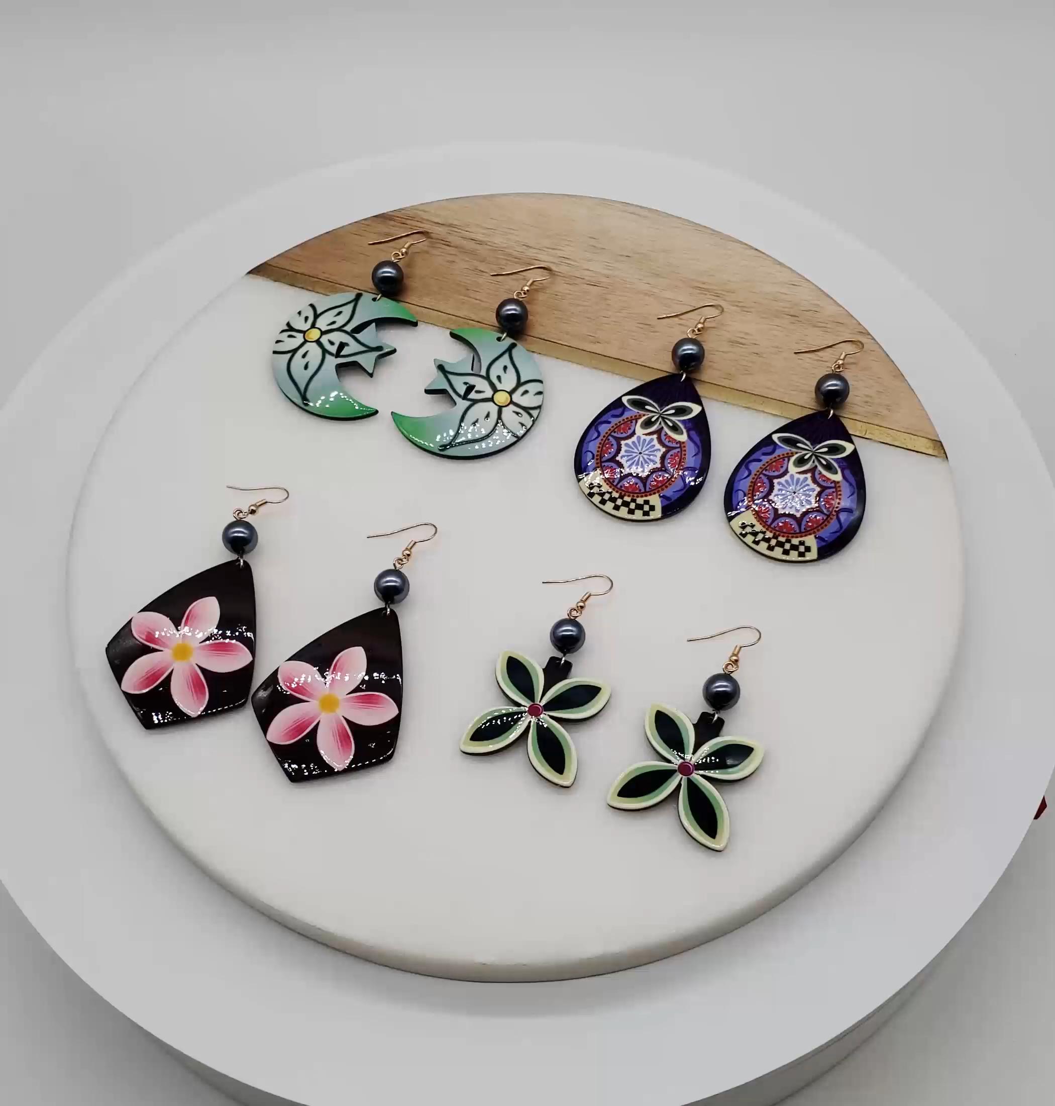 New Fashion Women Hawaiian Teardrop Sweet Colorful Acrylic Flower Pattern Black Pearl Earrings