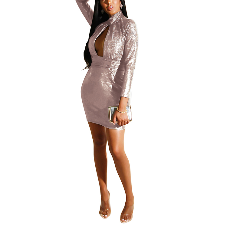 Better Front Hollow Out Long Sleeve Sexy Bodycon Bandage Night Club Dress
