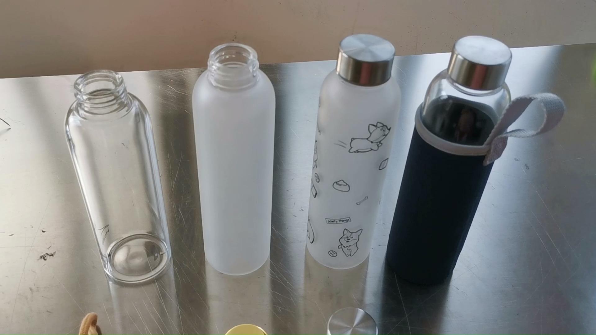 Стеклянная бутылка для воды объемом 16 унций нержавеющей стали крышкой 550 мл спираля охраны окружающей стеклянная бутылка для воды BPA бесплатно Портативный спортивная бутылка