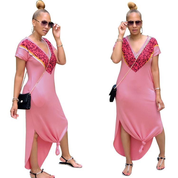 ヨーロッパとアメリカのクロスボーダーアマゾンebayのホットスタイルの女性のvネックスリットドレスロングスカート