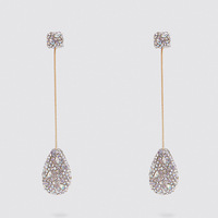 Kaimei Shiny Pendant ZA Earrings Women 2019 Crystal Teardrop Rhinestone Statement Bridal Earrings Party flower Drop Earrings