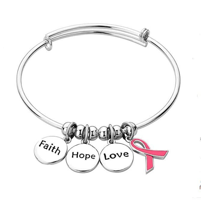 사용자 정의 사랑 믿음 희망 영감 핑크 리본 유방암 인식 매력 알렉스와 ani 팔찌