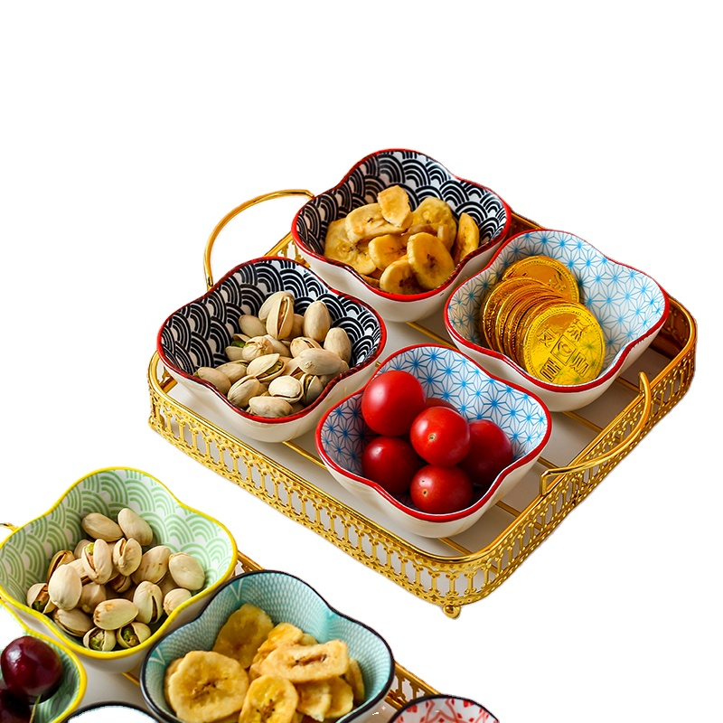 2Pcs Metal dessert spices vinegar nuts storage serving tray with 2 divided ceramic snack sauce condiment bowl dish set
